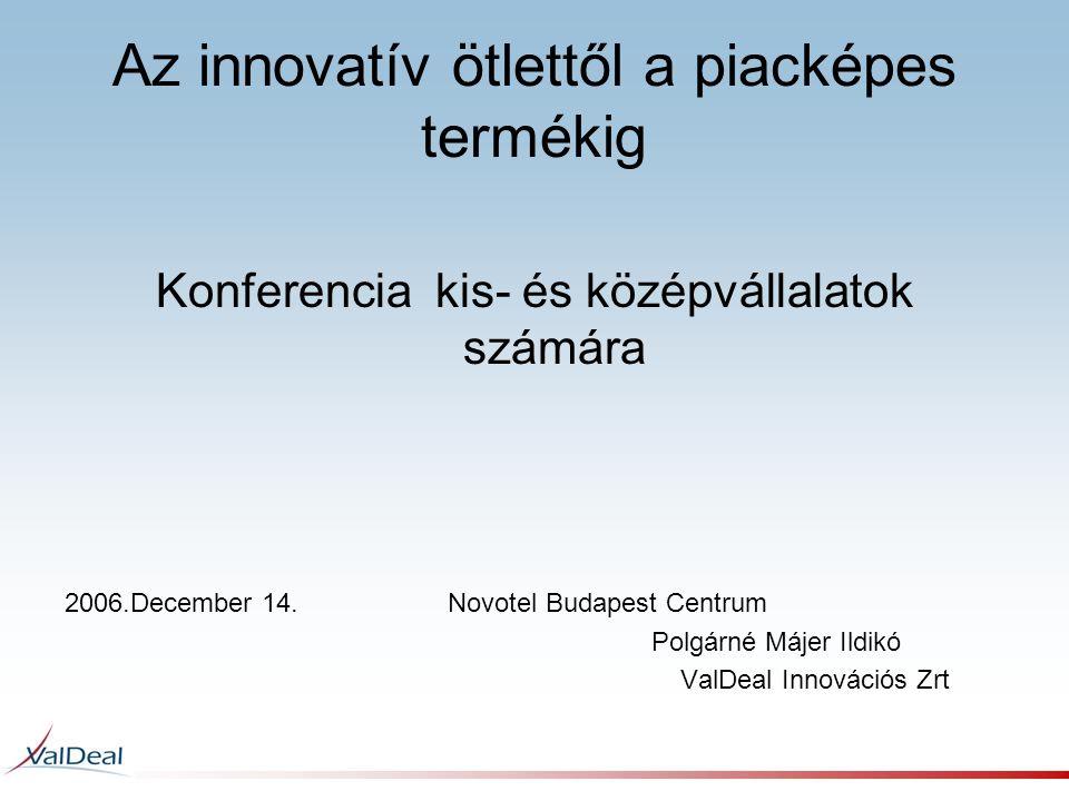 Az innovatív ötlettől a piacképes termékig Konferencia kis- és középvállalatok számára 2006.December 14. Novotel Budapest Centrum Polgárné Májer Ildik