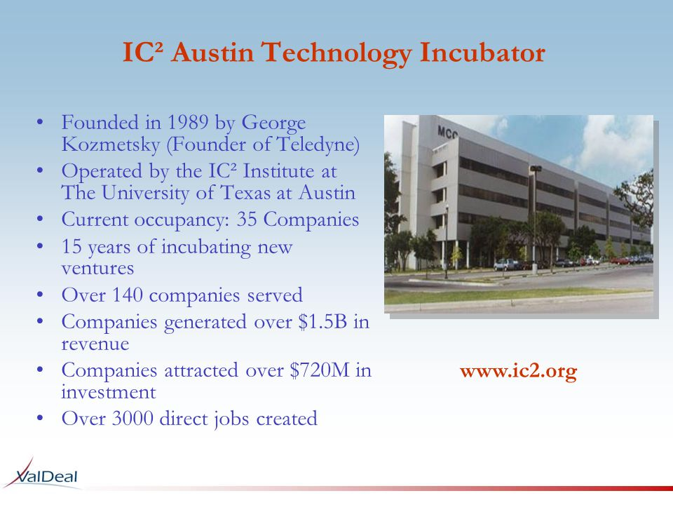Founded in 1989 by George Kozmetsky (Founder of Teledyne) Operated by the IC² Institute at The University of Texas at Austin Current occupancy: 35 Companies 15 years of incubating new ventures Over 140 companies served Companies generated over $1.5B in revenue Companies attracted over $720M in investment Over 3000 direct jobs created IC² Austin Technology Incubator www.ic2.org