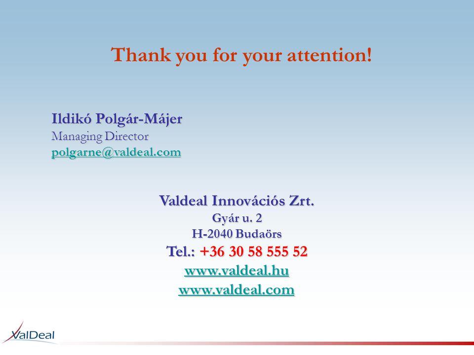 Ildikó Polgár-Májer Managing Director polgarne@valdeal.com polgarne@valdeal.com Valdeal Innovációs Zrt. Gyár u. 2 H-2040 Budaörs Tel.: +36 30 58 555 5