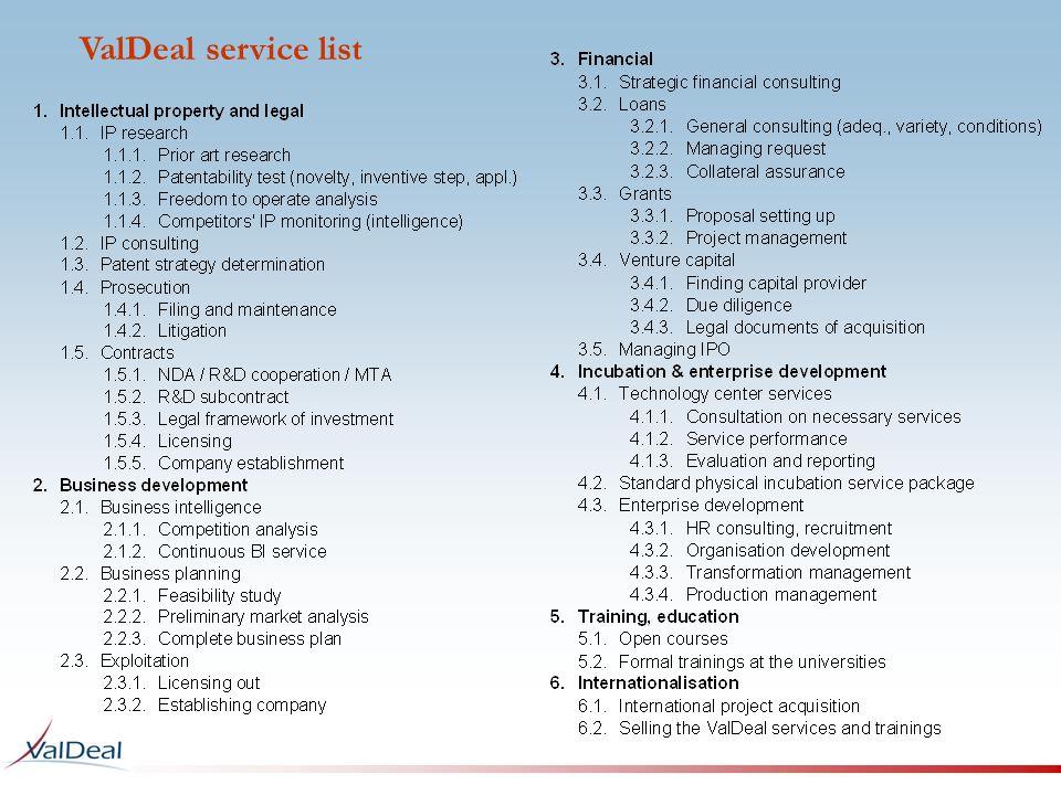 ValDeal service list