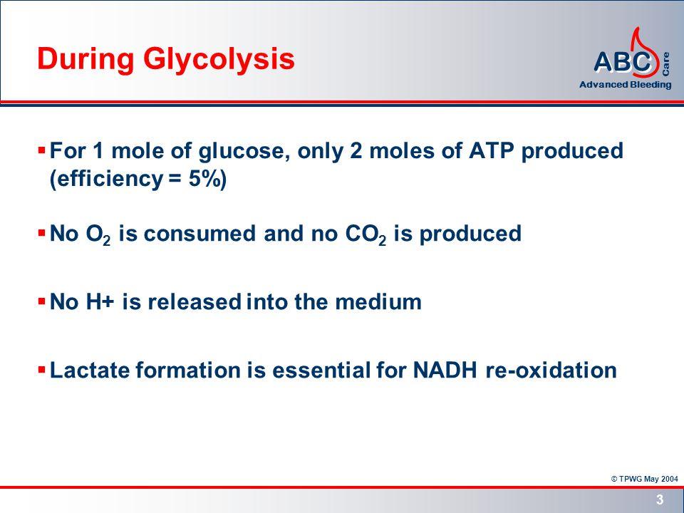 © TPWG May 2004 ABC Advanced Bleeding Care 4 Matrix Inter-membrane space NADH + H + NAD + 4H + Q QH 2 succinatefumarate Q QH 2 2H + 2Cyt c 2H + 4H + 2H + ½O 2 H2OH2O COMPLEX ICOMPLEX IICOMPLEX IIICOMPLEX IV Inner Glycolysis