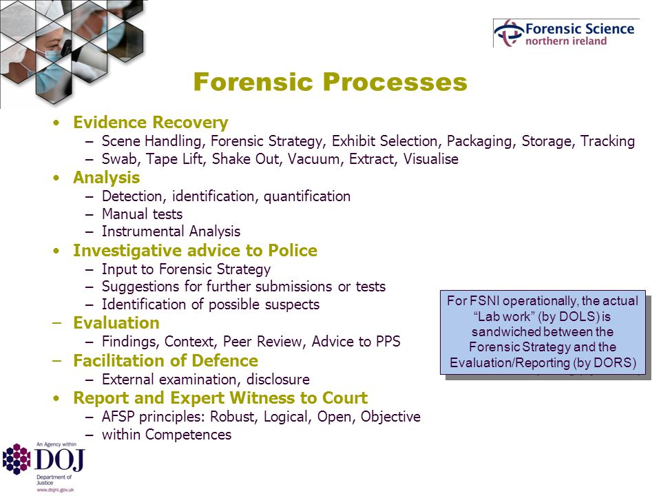 Forensic Processes Evidence Recovery – Scene Handling, Forensic Strategy, Exhibit Selection, Packaging, Storage, Tracking – Swab, Tape Lift, Shake Out, Vacuum, Extract, Visualise Analysis – Detection, identification, quantification – Manual tests – Instrumental Analysis Investigative advice to Police – Input to Forensic Strategy – Suggestions for further submissions or tests – Identification of possible suspects –Evaluation – Findings, Context, Peer Review, Advice to PPS –Facilitation of Defence – External examination, disclosure Report and Expert Witness to Court – AFSP principles: Robust, Logical, Open, Objective – within Competences For FSNI operationally, the actual Lab work (by DOLS) is sandwiched between the Forensic Strategy and the Evaluation/Reporting (by DORS)