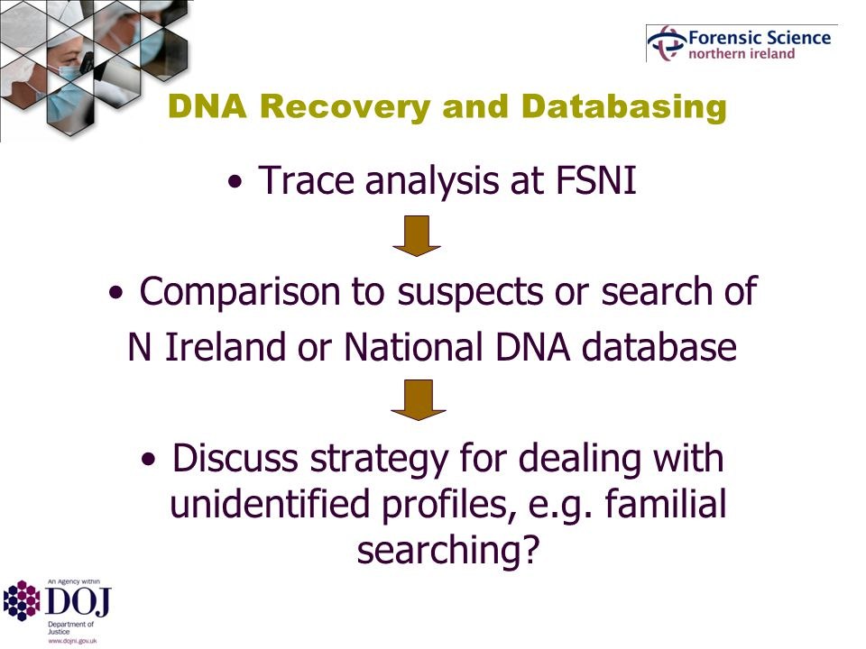 DNA Recovery and Databasing Trace analysis at FSNI Comparison to suspects or search of N Ireland or National DNA database Discuss strategy for dealing with unidentified profiles, e.g.