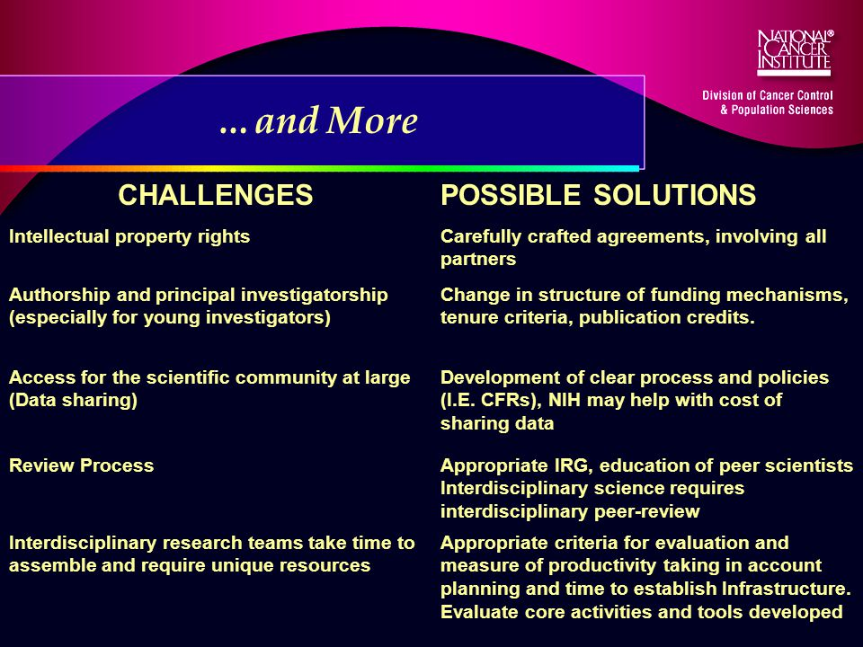 CHALLENGESPOSSIBLE SOLUTIONS Intellectual property rightsCarefully crafted agreements, involving all partners Authorship and principal investigatorship (especially for young investigators) Change in structure of funding mechanisms, tenure criteria, publication credits.
