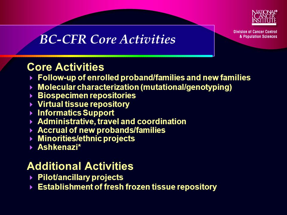 BC-CFR Core Activities Core Activities Follow-up of enrolled proband/families and new families Molecular characterization (mutational/genotyping) Biospecimen repositories Virtual tissue repository Informatics Support Administrative, travel and coordination Accrual of new probands/families Minorities/ethnic projects Ashkenazi* Additional Activities Pilot/ancillary projects Establishment of fresh frozen tissue repository