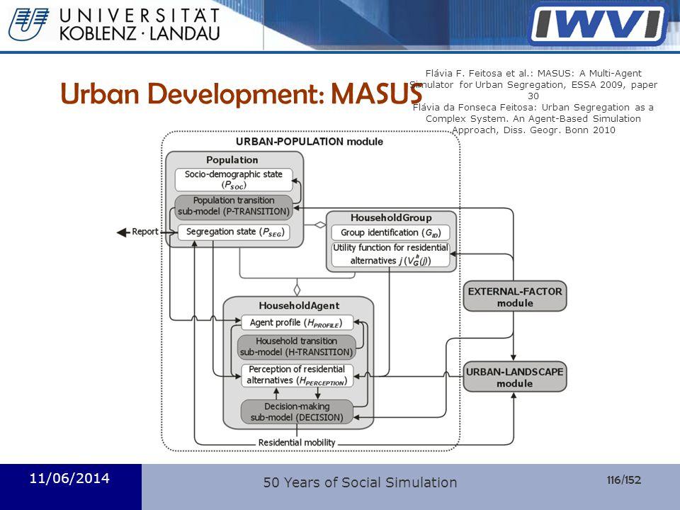116/152 Informatik Urban Development: MASUS 11/06/2014 50 Years of Social Simulation Flávia F. Feitosa et al.: MASUS: A Multi-Agent Simulator for Urba