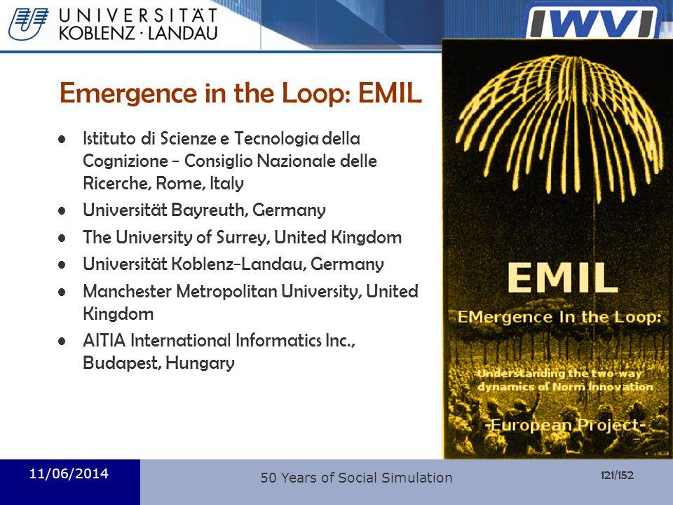 121/152 Informatik Emergence in the Loop: EMIL Istituto di Scienze e Tecnologia della Cognizione Consiglio Nazionale delle Ricerche, Rome, Italy Unive