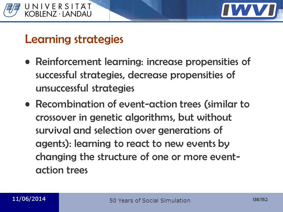 138/152 Informatik Learning strategies Reinforcement learning: increase propensities of successful strategies, decrease propensities of unsuccessful s