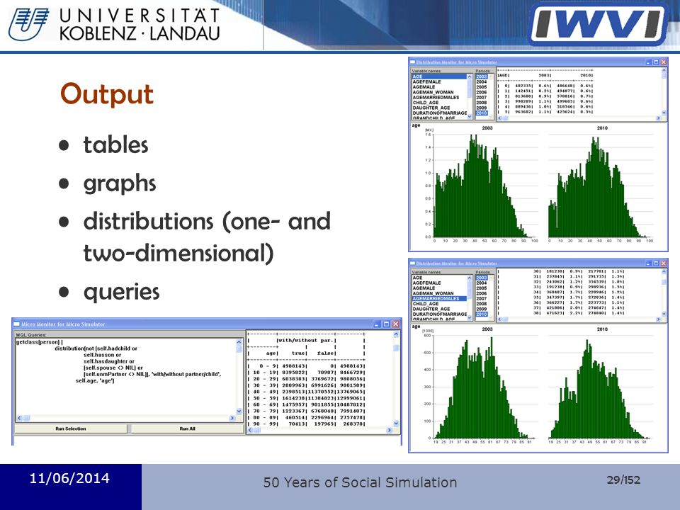 29/152 Informatik 11/06/2014 50 Years of Social Simulation Output tables graphs distributions (one- and two-dimensional) queries