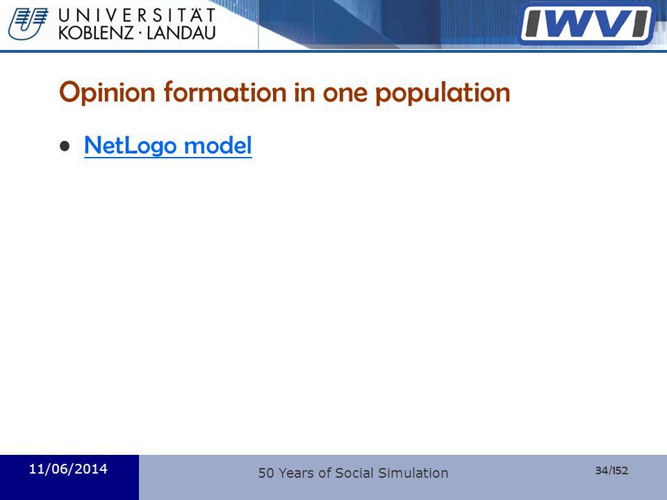 34/152 Informatik Opinion formation in one population NetLogo model 11/06/2014 50 Years of Social Simulation