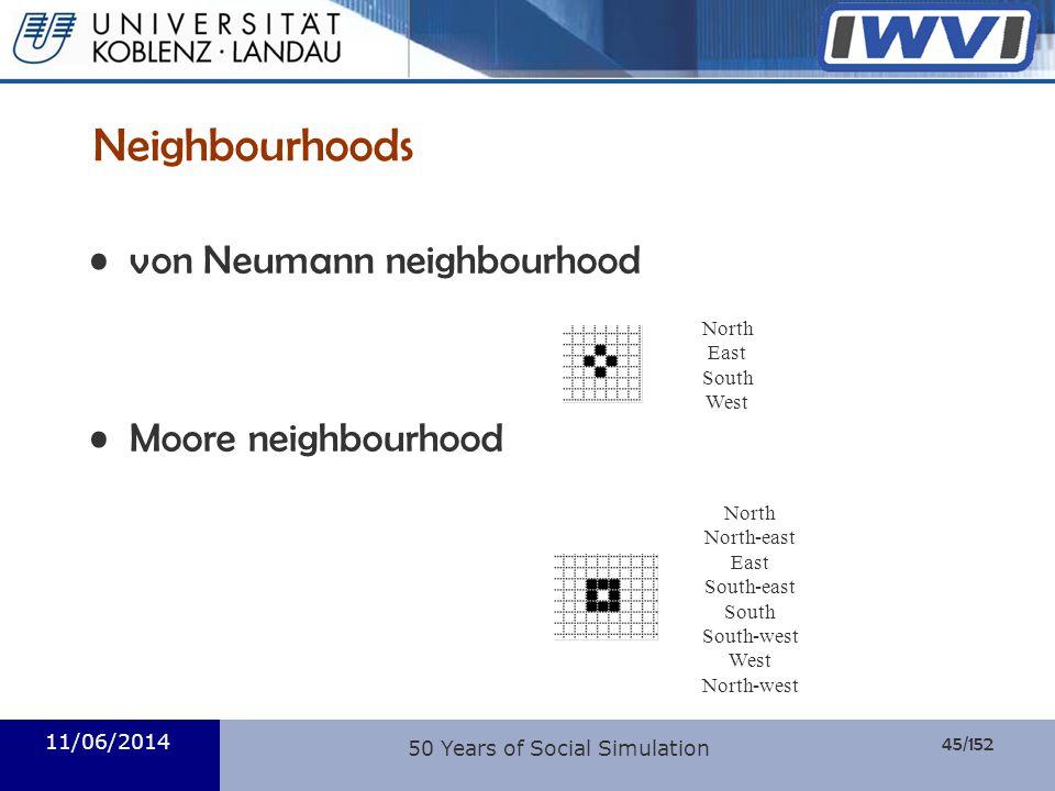 45/152 Informatik 11/06/2014 Neighbourhoods von Neumann neighbourhood Moore neighbourhood North East South West North North-east East South-east South
