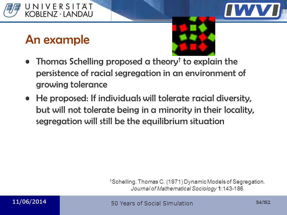 54/152 Informatik 11/06/2014 An example Thomas Schelling proposed a theory to explain the persistence of racial segregation in an environment of growi