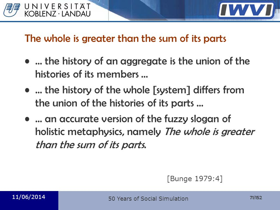 71/152 Informatik The whole is greater than the sum of its parts … the history of an aggregate is the union of the histories of its members … … the hi