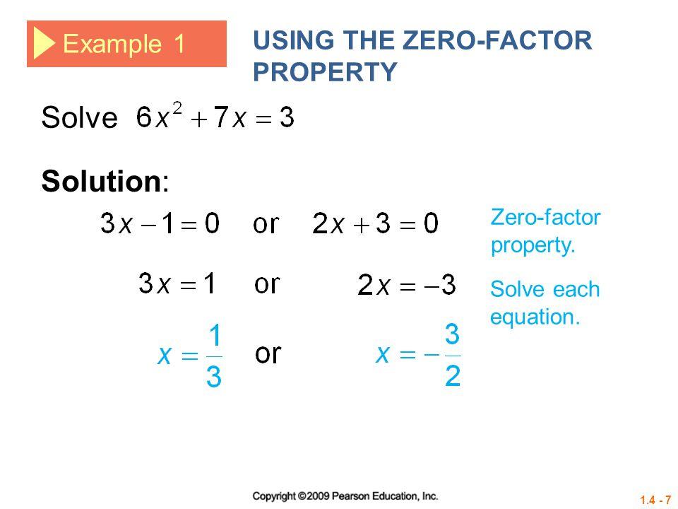 1.4 - 28 Example 6 USING THE QUADRATIC FORMULA (NONREAL COMPLEX SOLUTIONS) Solve 2x 2 = x – 4.