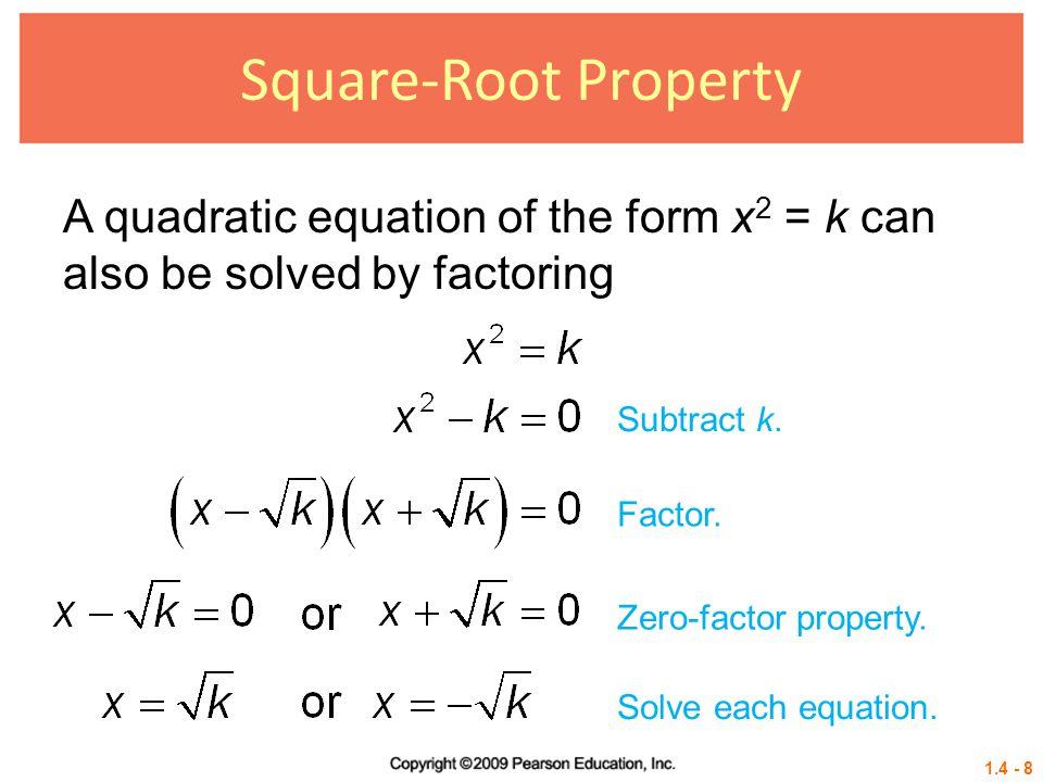 1.4 - 29 Example 6 USING THE QUADRATIC FORMULA (NONREAL COMPLEX SOLUTIONS) Solve 2x 2 = x – 4.