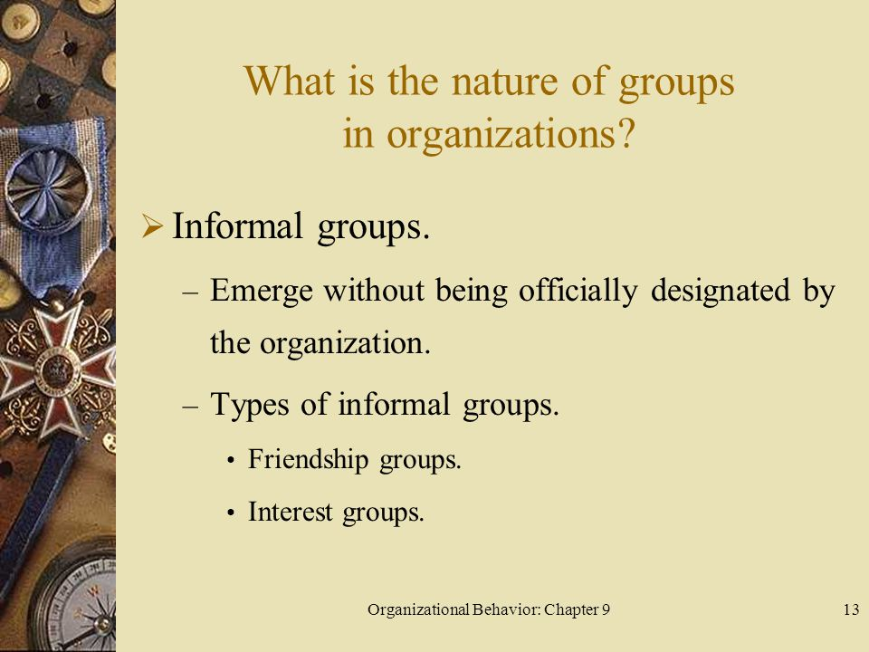 Organizational Behavior: Chapter 914 What is the nature of groups in organizations.