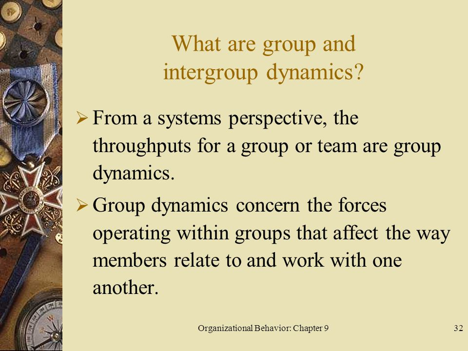 Organizational Behavior: Chapter 933 What are group and intergroup dynamics.