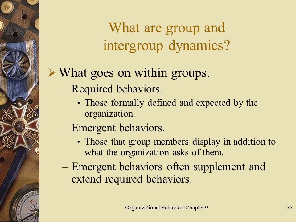 Organizational Behavior: Chapter 934 What are group and intergroup dynamics.