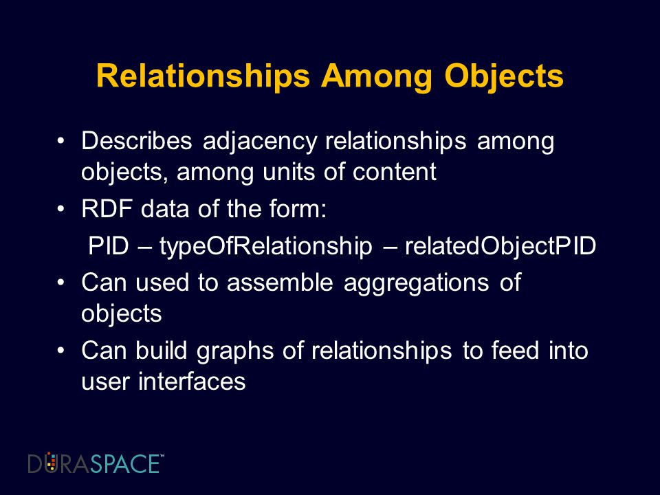 Relationships Among Objects Describes adjacency relationships among objects, among units of content RDF data of the form: PID – typeOfRelationship – relatedObjectPID Can used to assemble aggregations of objects Can build graphs of relationships to feed into user interfaces