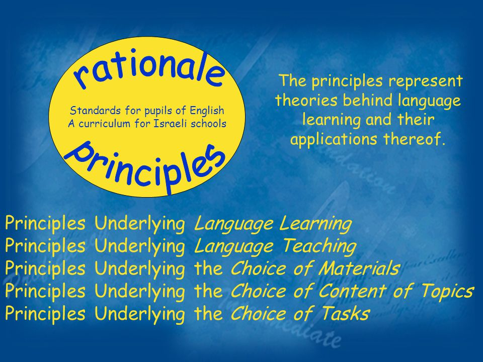 Standards for pupils of English A curriculum for Israeli schools The principles represent theories behind language learning and their applications thereof.