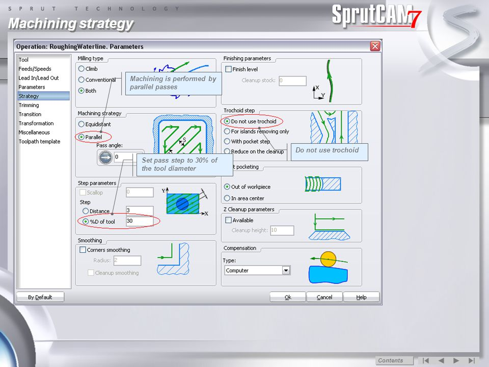 Toolpath calculation Toolpath Marks that the calculation is successful Contents
