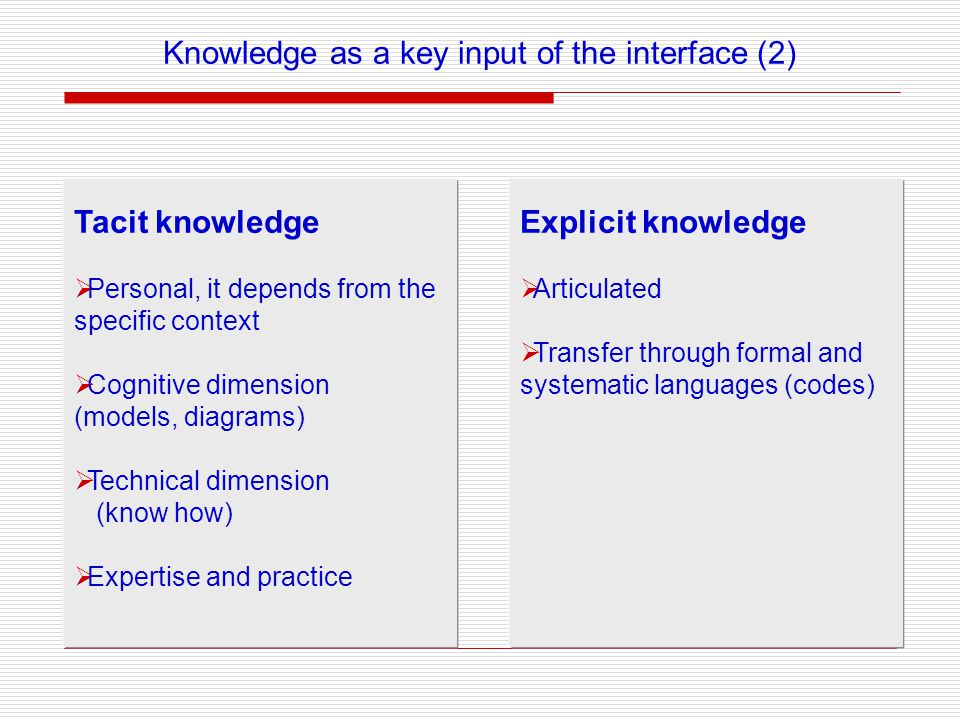 Tacit knowledge Personal, it depends from the specific context Cognitive dimension (models, diagrams) Technical dimension (know how) Expertise and practice Explicit knowledge Articulated Transfer through formal and systematic languages (codes) Knowledge as a key input of the interface (2)