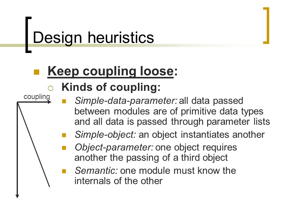 Design heuristics Keep coupling loose: Kinds of coupling: Simple-data-parameter: all data passed between modules are of primitive data types and all data is passed through parameter lists Simple-object: an object instantiates another Object-parameter: one object requires another the passing of a third object Semantic: one module must know the internals of the other coupling