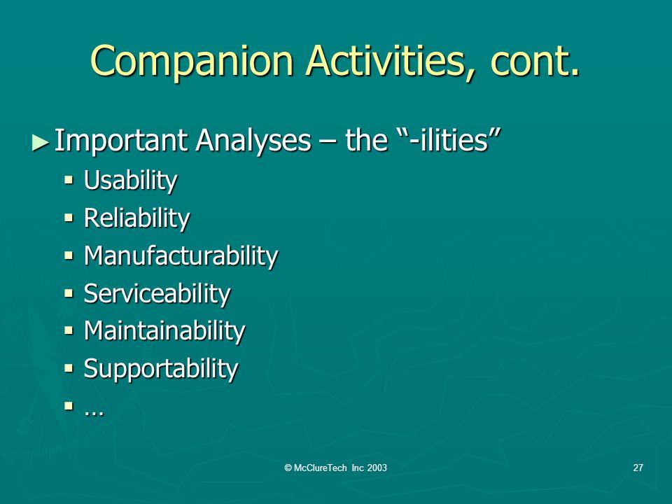 © McClureTech Inc 200327 Companion Activities, cont.