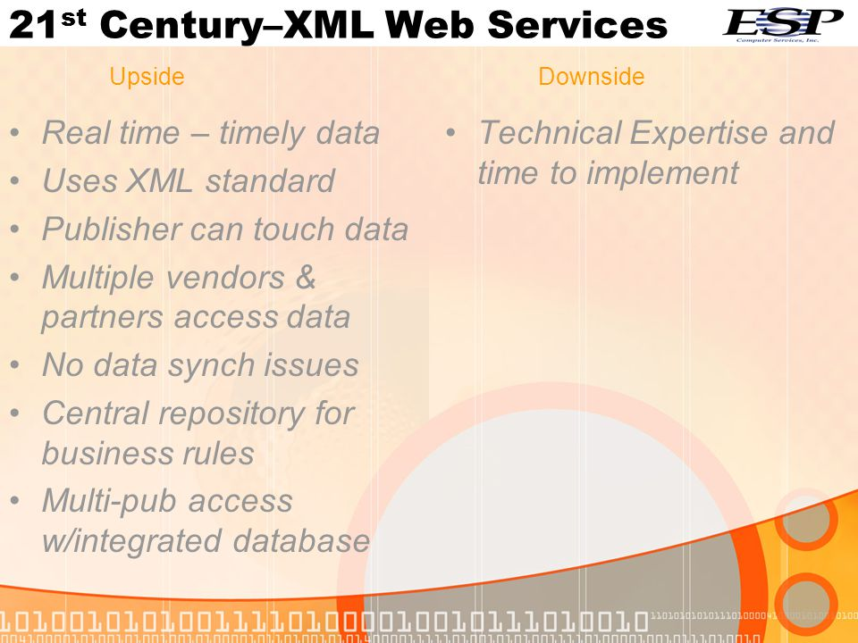 Real time – timely data Uses XML standard Publisher can touch data Multiple vendors & partners access data No data synch issues Central repository for business rules Multi-pub access w/integrated database Technical Expertise and time to implement UpsideDownside