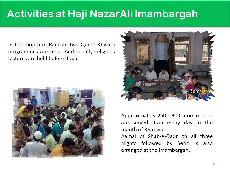 Activities at Haji NazarAli Imambargah 10 Approximately 250 - 300 momimneen are served Iftari every day in the month of Ramzan.