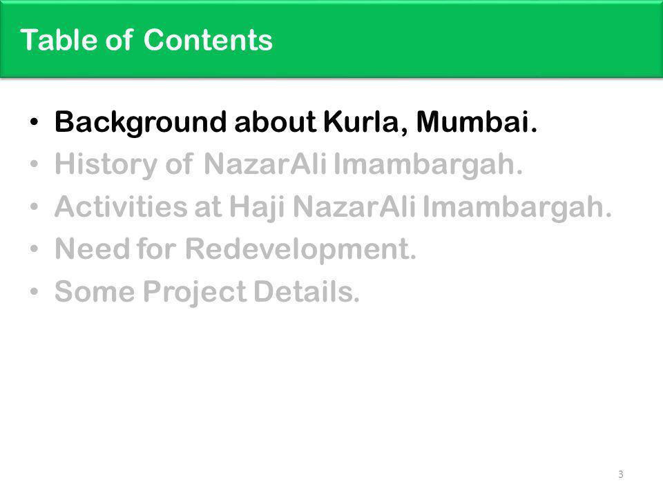 Table of Contents Background about Kurla, Mumbai.History of NazarAli Imambargah.