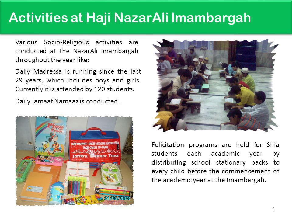 Activities at Haji NazarAli Imambargah 9 Daily Madressa is running since the last 29 years, which includes boys and girls. Currently it is attended by
