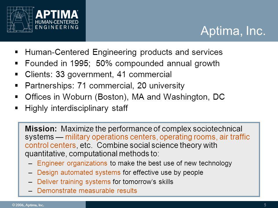 Ó 2006, Aptima, Inc. 5 Aptima, Inc.