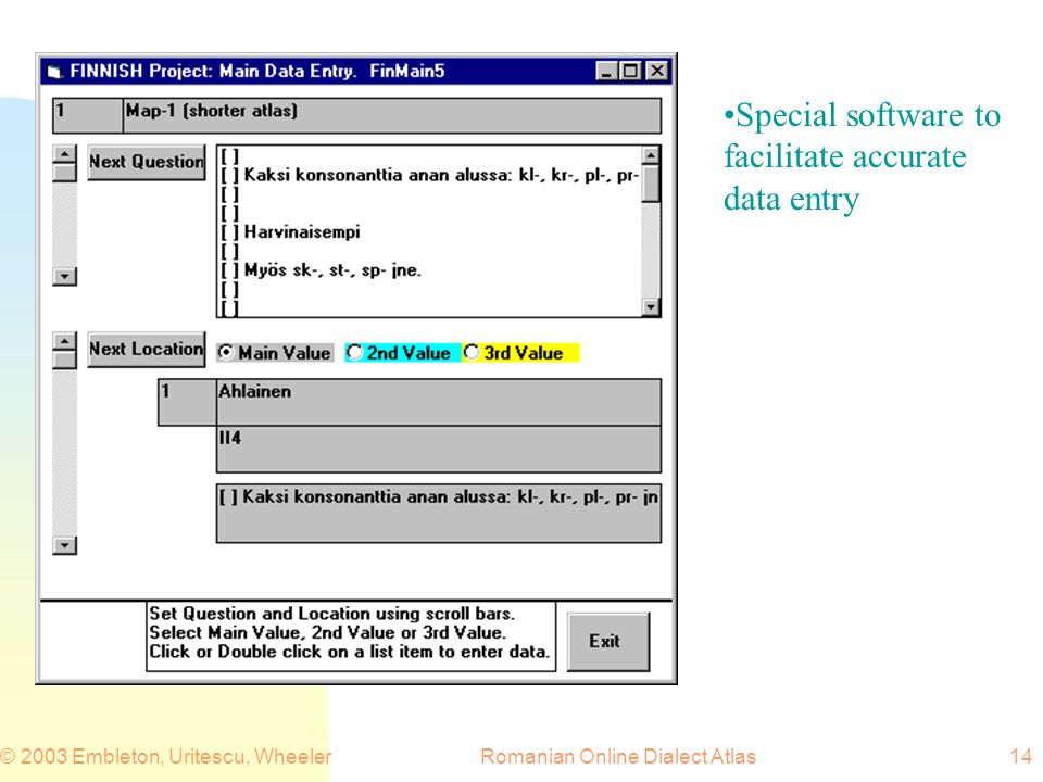 Romanian Online Dialect Atlas© 2003 Embleton, Uritescu, Wheeler14 Special software to facilitate accurate data entry