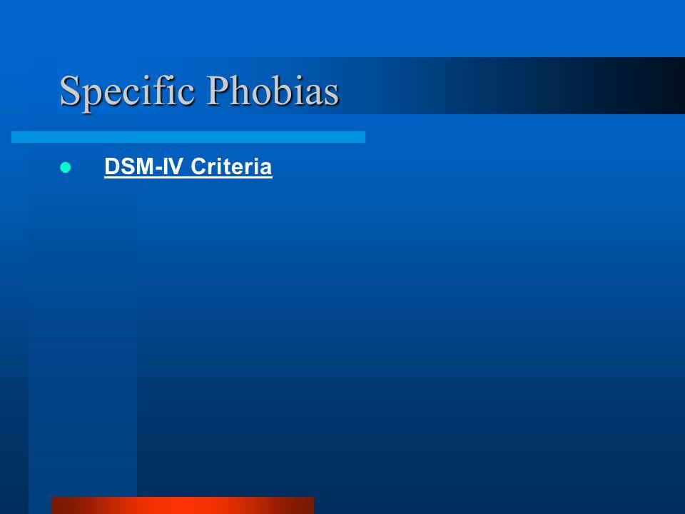 Specific Phobias DSM-IV Criteria