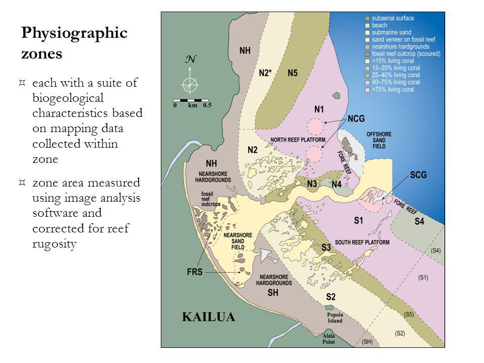 each with a suite of biogeological characteristics based on mapping data collected within zone zone area measured using image analysis software and corrected for reef rugosity Physiographic zones