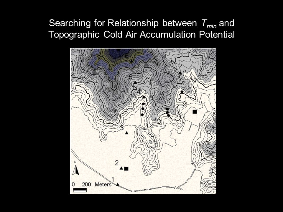 Searching for Relationship between T min and Topographic Cold Air Accumulation Potential