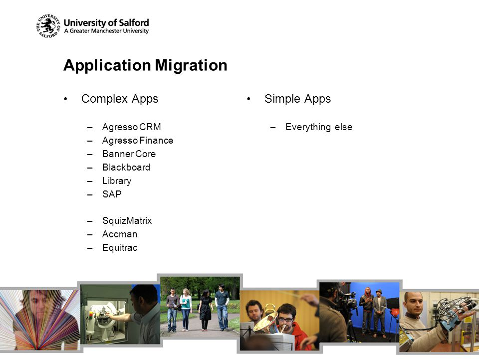 Application Migration Complex Apps –Agresso CRM –Agresso Finance –Banner Core –Blackboard –Library –SAP –SquizMatrix –Accman –Equitrac Simple Apps –Everything else