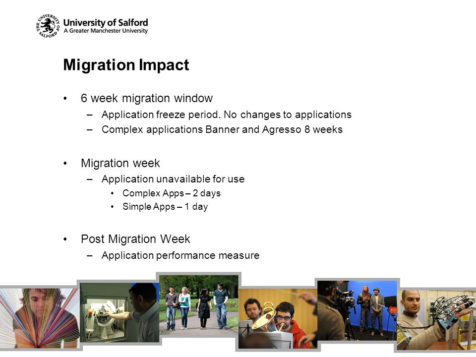 Migration Impact 6 week migration window –Application freeze period. No changes to applications –Complex applications Banner and Agresso 8 weeks Migra