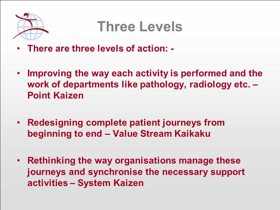 Three Levels There are three levels of action: - Improving the way each activity is performed and the work of departments like pathology, radiology etc.