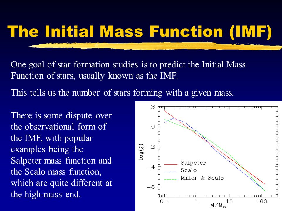 The Initial Mass Function (IMF) One goal of star formation studies is to predict the Initial Mass Function of stars, usually known as the IMF. This te