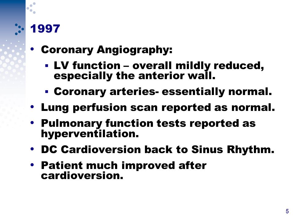 5 1997 Coronary Angiography: LV function – overall mildly reduced, especially the anterior wall.