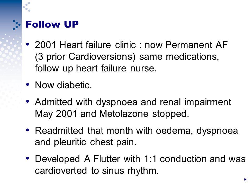 39 Follow UP Felt better.Less breathless. No longer episodes of cyanosis.