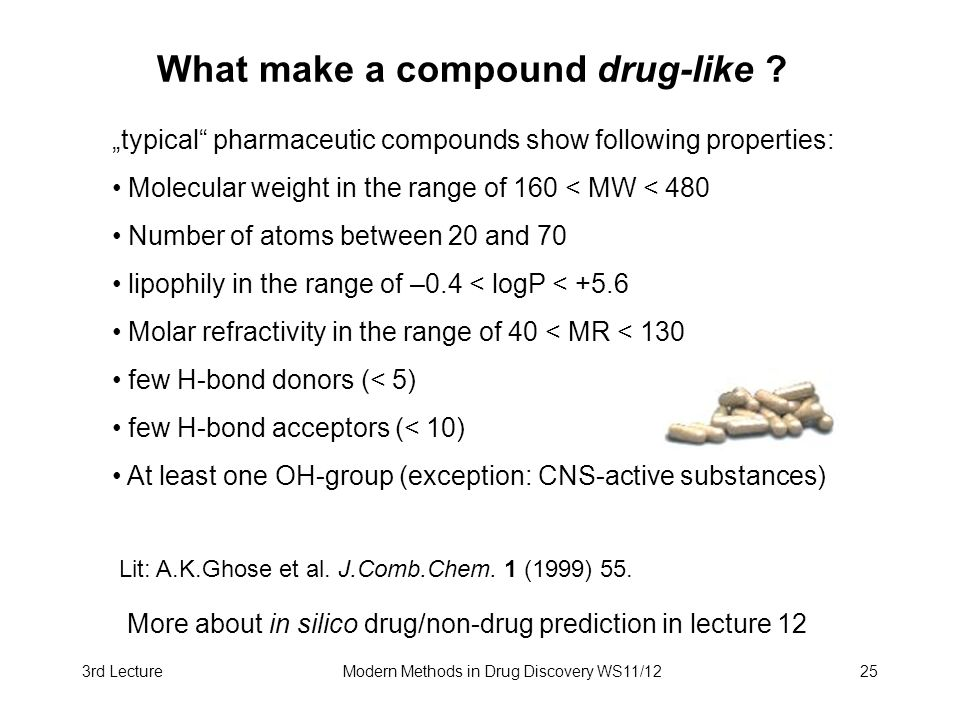 3rd LectureModern Methods in Drug Discovery WS11/1225 What make a compound drug-like ? typical pharmaceutic compounds show following properties: Molec