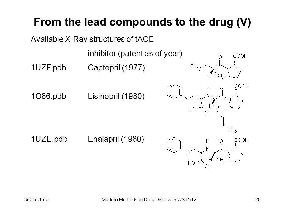 3rd LectureModern Methods in Drug Discovery WS11/1228 From the lead compounds to the drug (V) Available X-Ray structures of tACE inhibitor (patent as