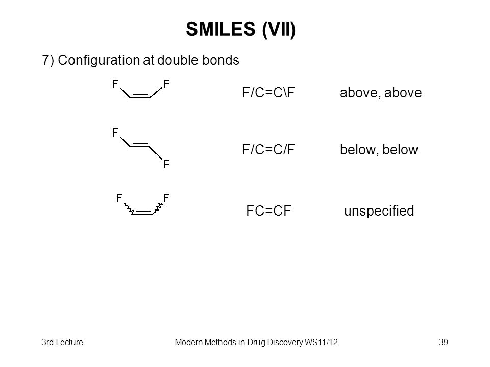 3rd LectureModern Methods in Drug Discovery WS11/1239 SMILES (VII) 7) Configuration at double bonds F/C=C\Fabove, above F/C=C/Fbelow, below FC=CFunspe