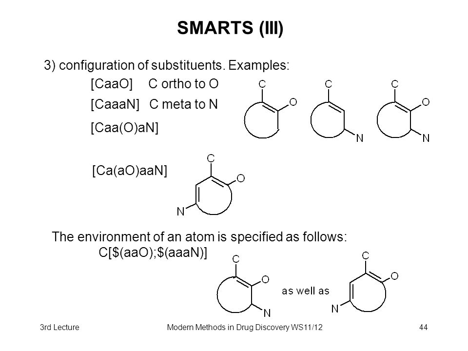 3rd LectureModern Methods in Drug Discovery WS11/1244 SMARTS (III) 3) configuration of substituents. Examples: [CaaO] C ortho to O [CaaaN] C meta to N