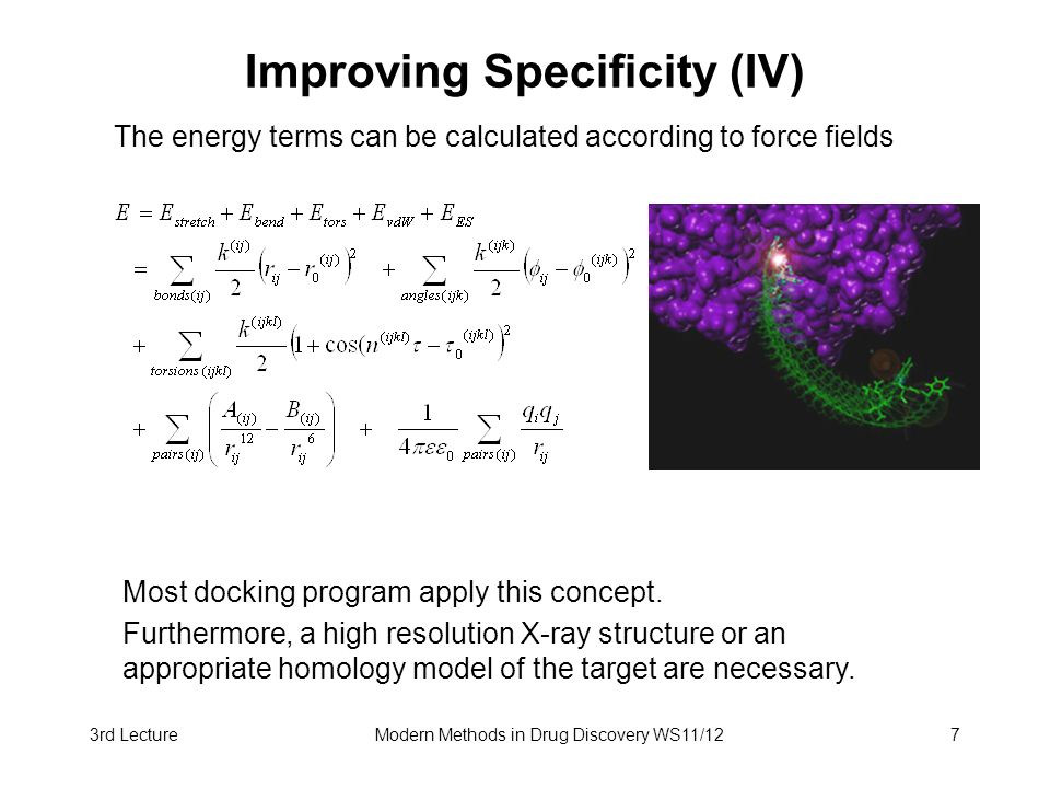 3rd LectureModern Methods in Drug Discovery WS11/127 Improving Specificity (IV) The energy terms can be calculated according to force fields Most dock