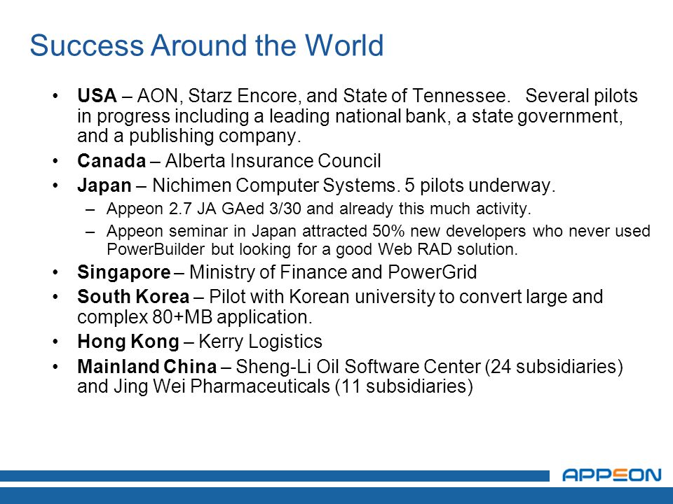 Success Around the World USA – AON, Starz Encore, and State of Tennessee.