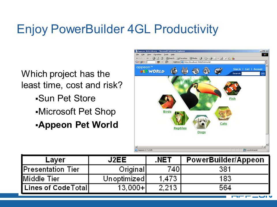 Enjoy PowerBuilder 4GL Productivity Lines of Code Which project has the least time, cost and risk.